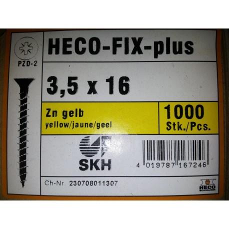 3.5 x 16 Zingue Jaune HECO-FIX-plus