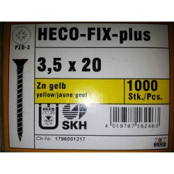 Vis 3.5 x 20 Zingue Jaune HECO-FIX-plus