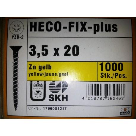 3.5 x 20 Zingue Jaune HECO-FIX-plus