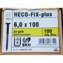 Vis 6 x 100 Zingue Jaune HECO-FIX-plus