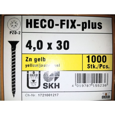 4 x 30 Zingue Jaune HECO-FIX-plus