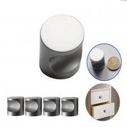 Boutons alu argent poli pour meubles Ø25 mm H25mm (lot de 4)