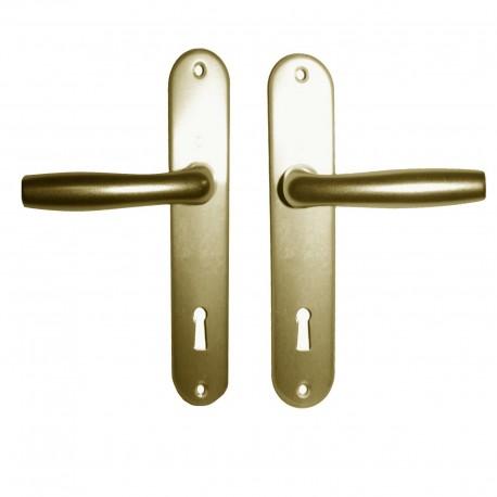 Poignees de porte sur plaque courte alu couleur champagne HOPPE